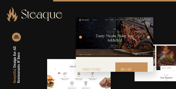Steaque | Steak House and Coctail Bar Joomla Template