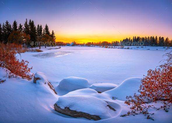 Vibrant winter landscape. Frozen lake - Stock Photo - Images