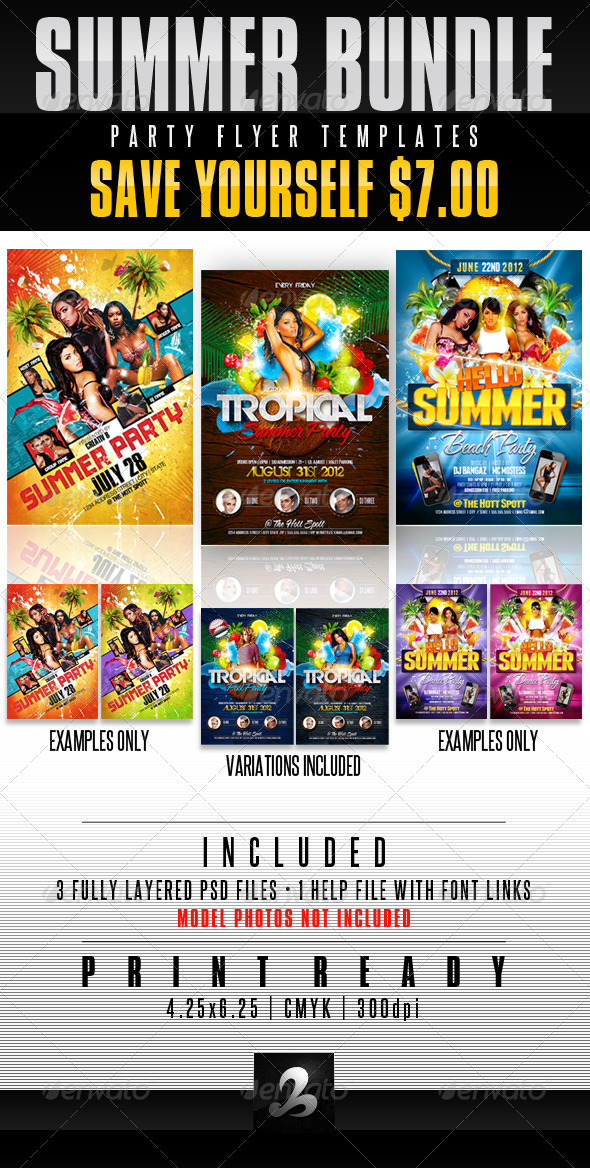 Summer Party Flyer Templates Bundle - Clubs & Parties Events