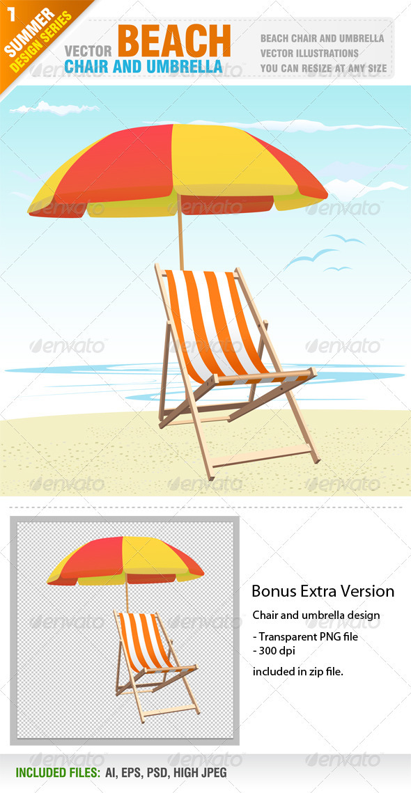 Beach chair and umbrella - Travel Conceptual