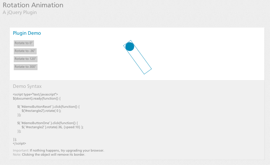 jQuery Rotation Animation Plugin