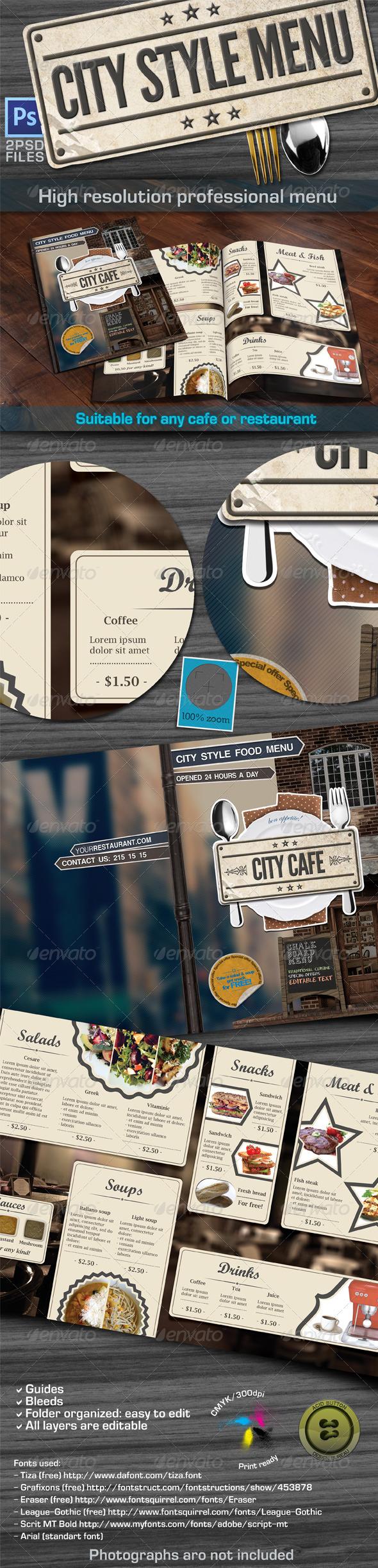 City Style Menu - Food Menus Print Templates
