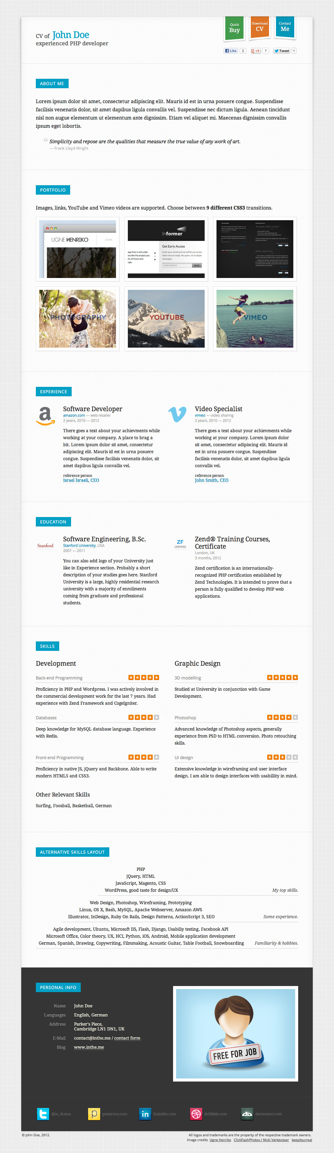 responsive cv    resume html5 template   3 skins  by