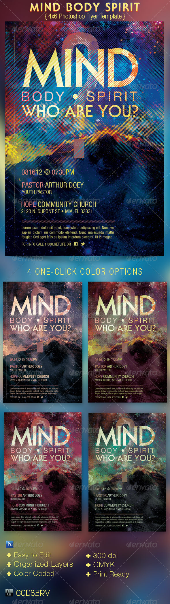 Mind Body Spirit Church Flyer Template - Church Flyers
