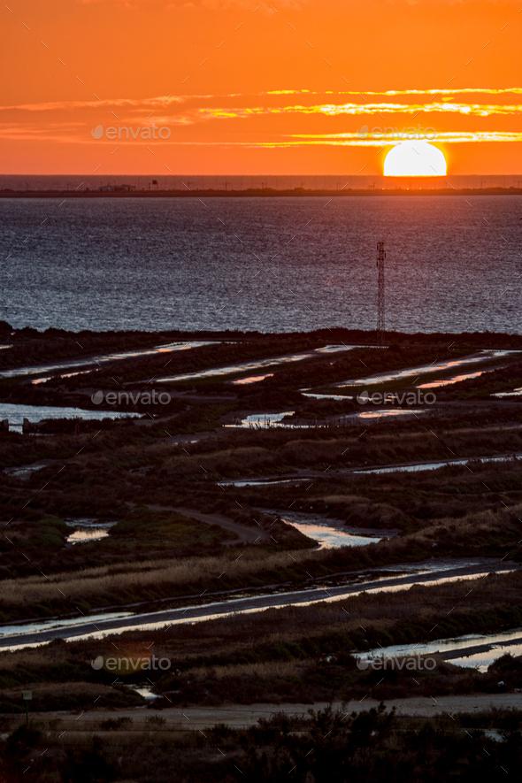 Sunset on the beach of Cadiz - Stock Photo - Images