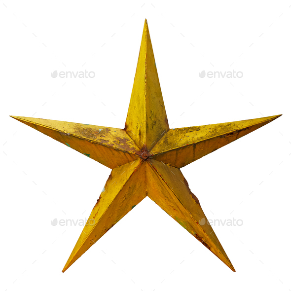 Old rusted five-pointed yellow metal star - Stock Photo - Images