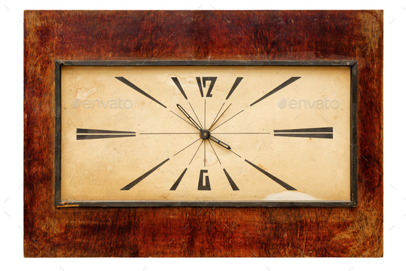 Old retro rectangular wall clock - Stock Photo - Images