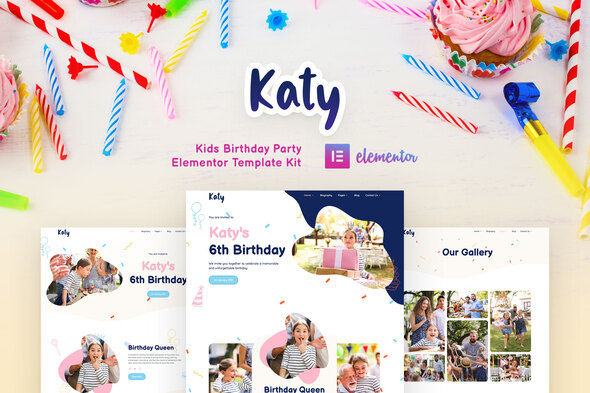 Katy - Kids Birthday Party Planner & Invitation Elementor Template Kit