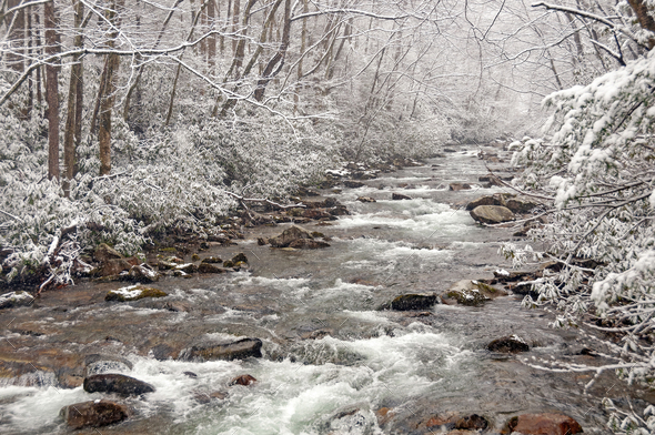 Spring Snow on a Mountain Stream - Stock Photo - Images
