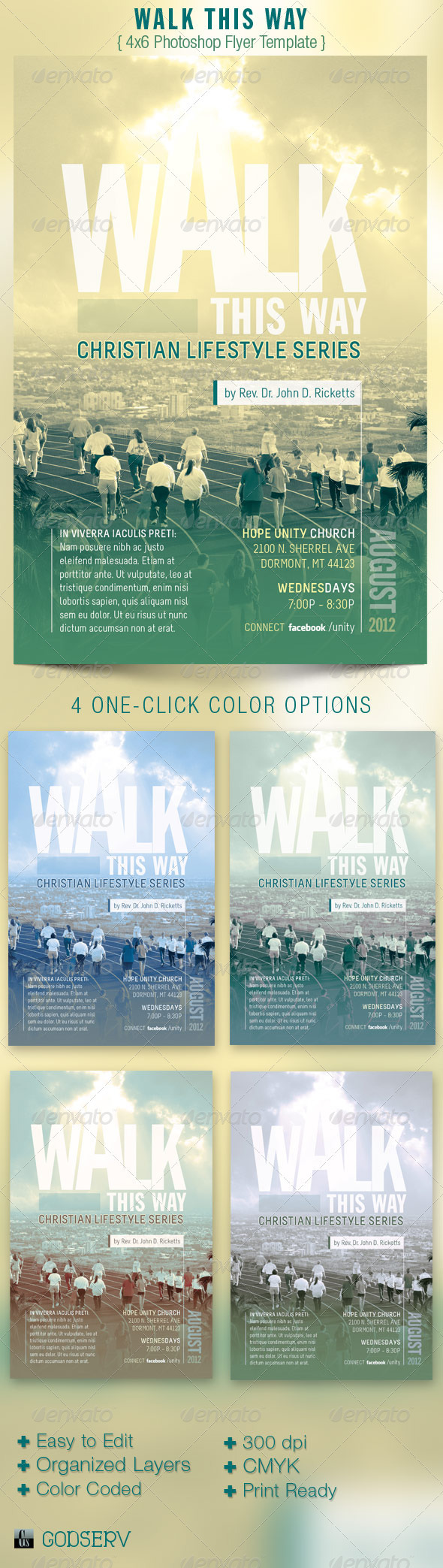 Walk This Way Church Flyer Template - Church Flyers