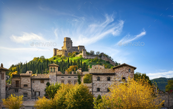Assisi town and Rocca Maggiore fortress. Perugia, Umbria, Italy. - Stock Photo - Images