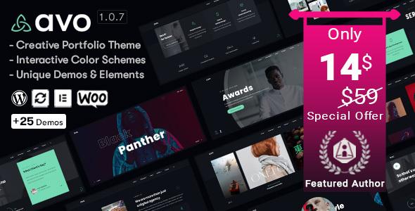 Avo - Creative Portfolio & Agency WordPress Theme Nulled