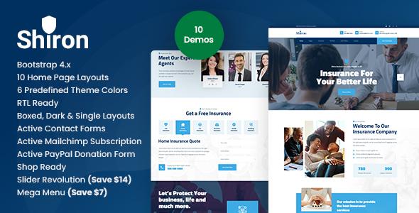 Excellent Shiron - Insurance Finance HTML
