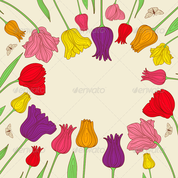 Floral Banner with Tulips - Backgrounds Decorative