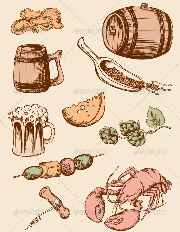 Set of Vintage Beer Icons - Food Objects
