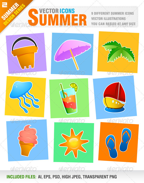 9 summer / holiday icons - Travel Conceptual