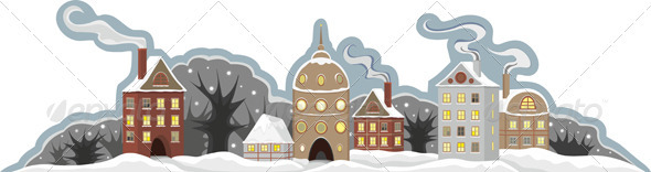 Town Winter Isolated - Buildings Objects