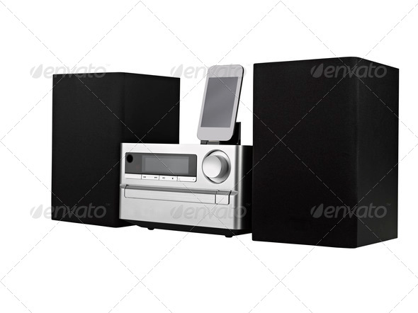 digital usb, cd player and mp3 against the white background - Stock Photo - Images