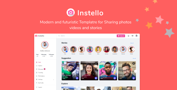 Instello Ultimate Photo Sharing HTML Template