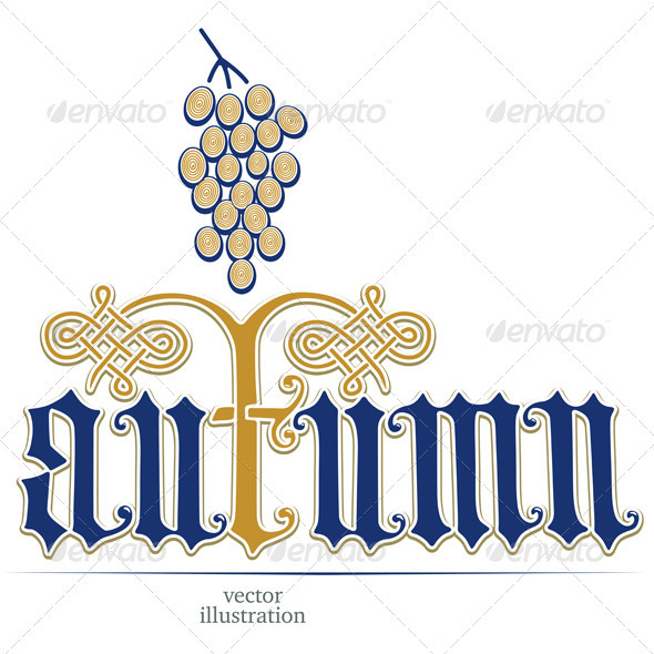 Vector Illustration With a Bunch of Grapes - Decorative Symbols Decorative