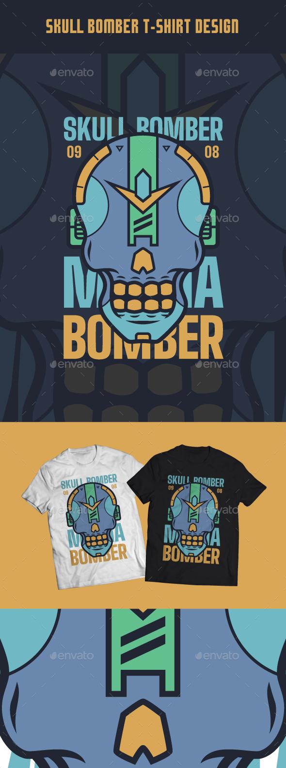 Skull Bomber T-Shirt Design