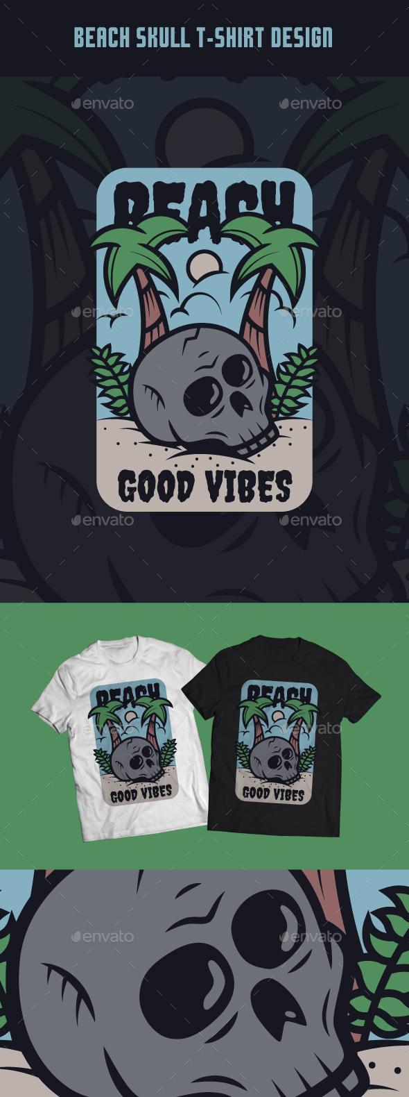 Beach Skull T-Shirt Design