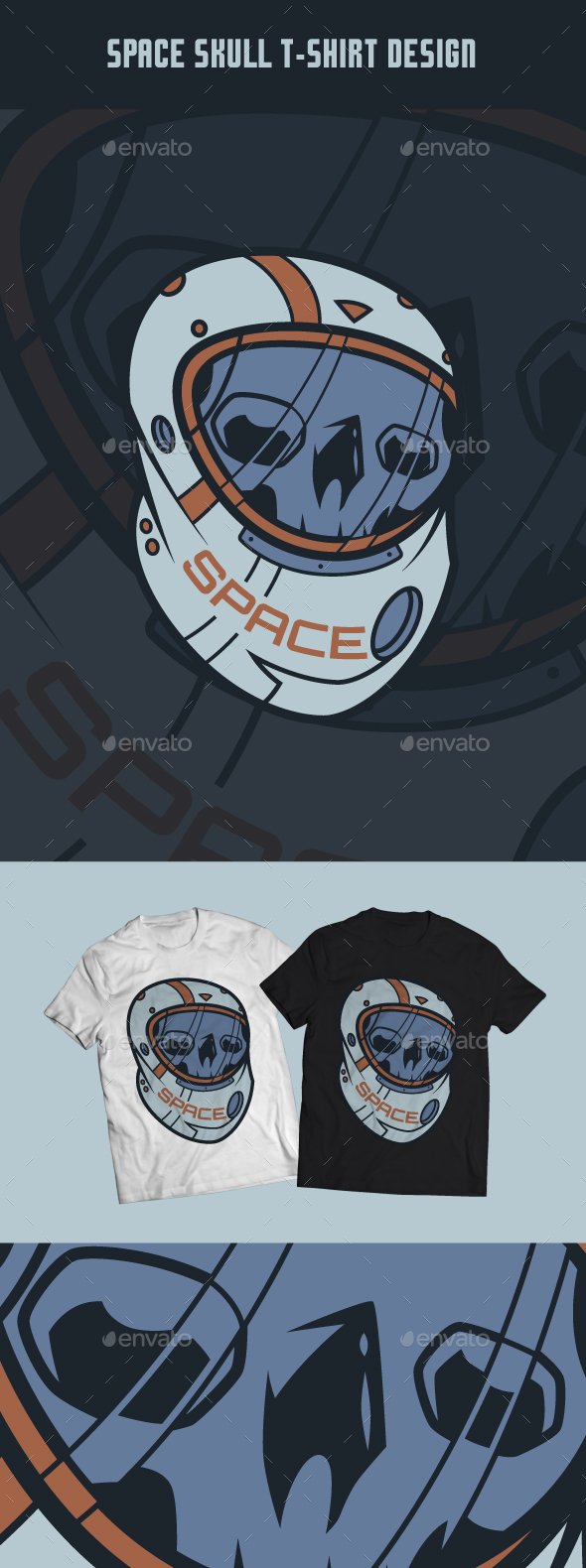 Space Skull T-Shirt Design
