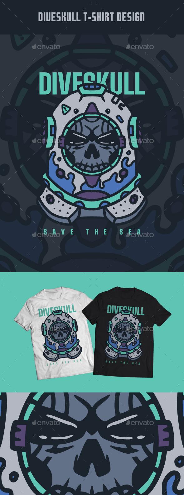 Dive Skull T-Shirt Design