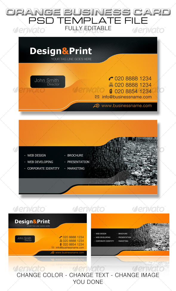 Orange Business Card Template by musashi | GraphicRiver