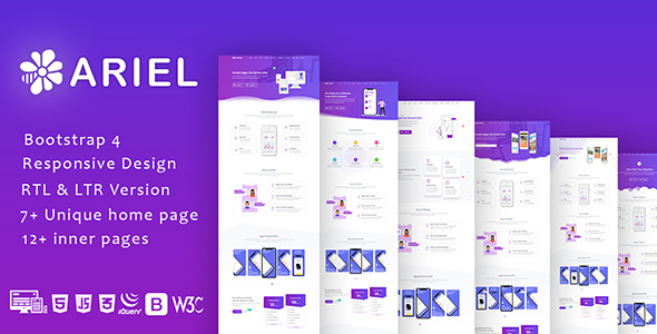 Exceptional Ariel - App Landing Page Template + RTL