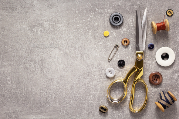 tailor or sewing accessories and supplies with tools - Stock Photo - Images