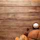 Loaf of fresh bread and buns on wooden table - PhotoDune Item for Sale