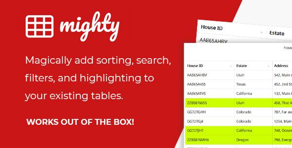 Mighty Tables | Add sorting, search, filters, and highlighting to your tables