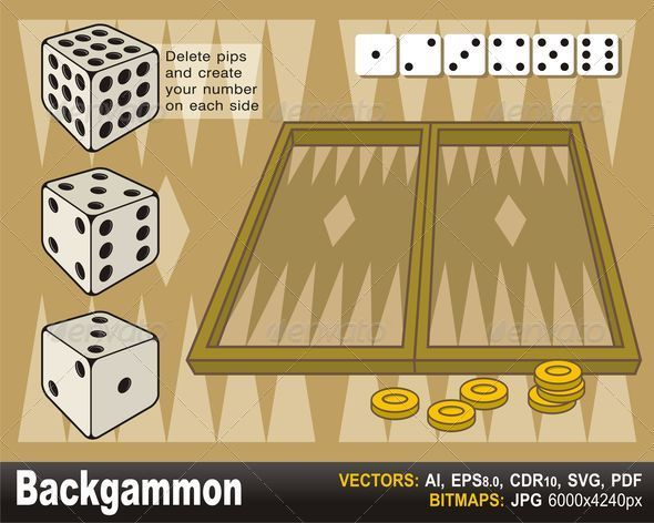 Backgammon with dices - Objects Vectors