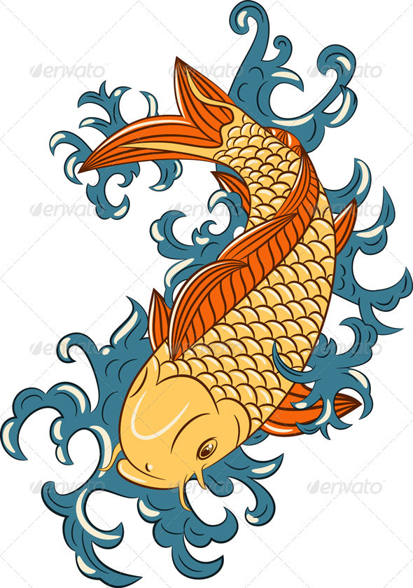 Vector Koi Carp Fish - Animals Characters