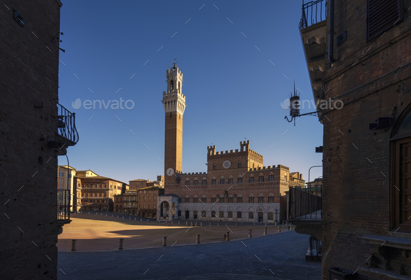 Siena, Piazza del Campo square and Mangia tower. Tuscany, Italy - Stock Photo - Images