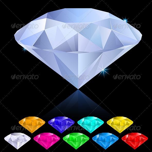 Realistic diamonds in different colors - Man-made Objects Objects