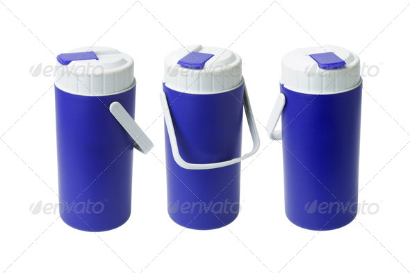 Three Blue Plastic Containers - Stock Photo - Images