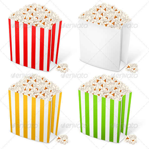 Popcorn in multi-colored striped packages - Food Objects