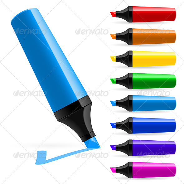 Realistic multi-colored markers - Man-made Objects Objects