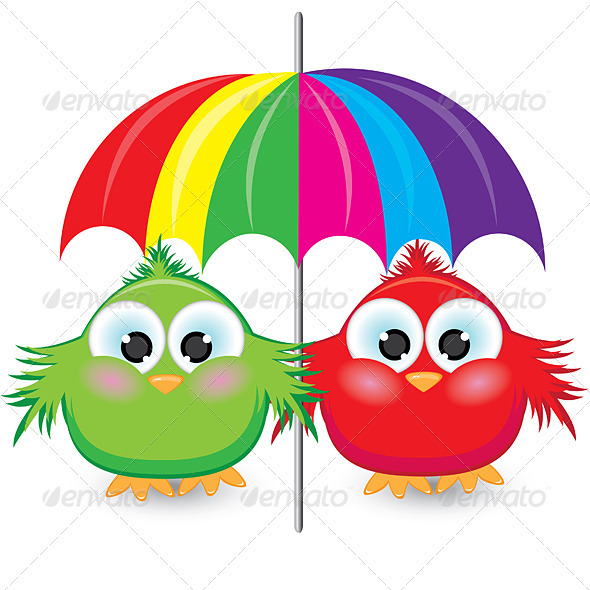 Two cartoon sparrow under the colorful umbrella - Animals Characters