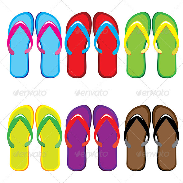 Six pairs of colorful flip flops - Valentines Seasons/Holidays