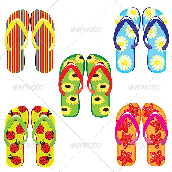 Five pairs of colorful flip flops  - Man-made Objects Objects
