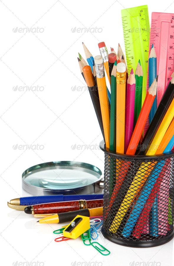 school accessories isolated on white - Stock Photo - Images