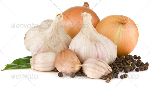 garlics and onion isolated on white - Stock Photo - Images