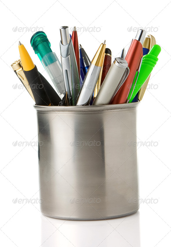 holder basket full of pencils and pens isolated on white - Stock Photo - Images