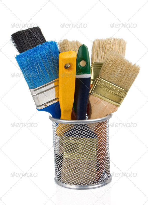 paint brush and basket holder on white - Stock Photo - Images
