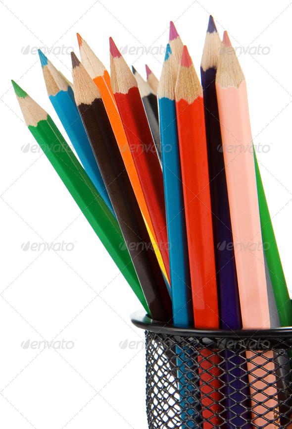 holder basket full of pencils isolated on white - Stock Photo - Images