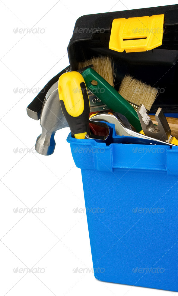 set of tools and instruments in box on white - Stock Photo - Images