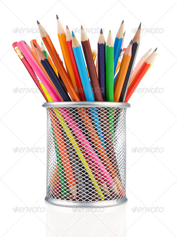 colorful pencils in holder isolated on white - Stock Photo - Images